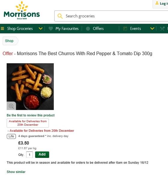 크리스마스를 맞아 새롭게 출시된 치즈 추로스가 영국 모리슨스 홈페이지에 올라와 있다. [사진 모리슨스]
