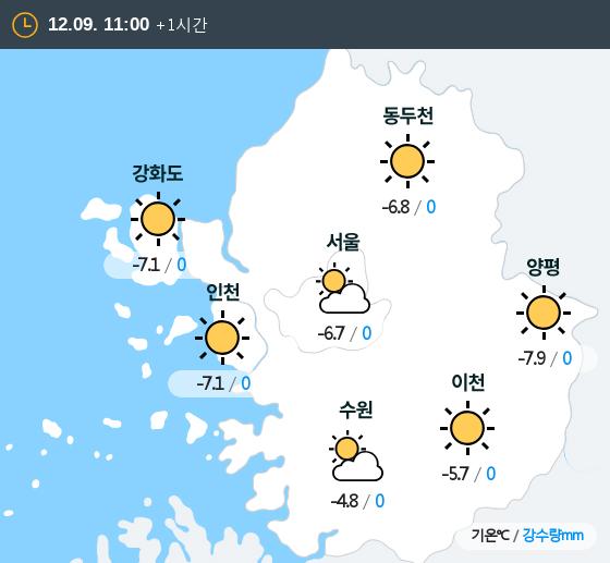 2018년 12월 09일 11시 수도권 날씨