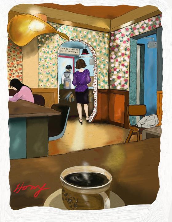 을지로의 이색카페 잔 by 갤럭시노트8/아트레이지. [그림 홍미옥]