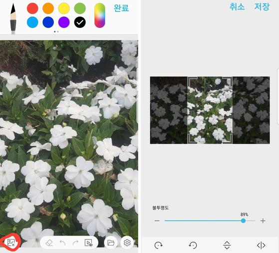 드로잉팁 2. 왼쪽의 사진 메뉴에서 배경 사진을 불러온 후 불투명도를 정해준다. 수치가 높을수록 선명하다. [사진 홍미옥]