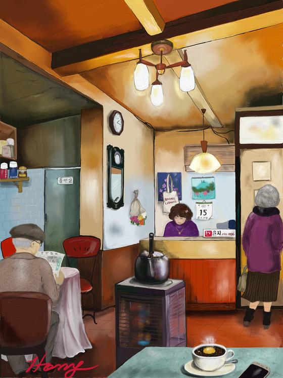 을지로3가에 있는 을지다방, by 갤럭시탭s3/아트레이지. [그림 홍미옥]