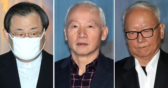 '특활비 상납' 항소심 선고 출석하는 이병기·남재준·이병호 전 국정원장 [연합뉴스]