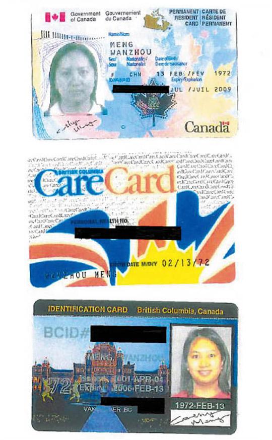 멍완저우의 캐나다 신분증