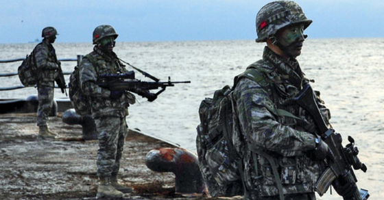 지난 2013년 해군 특전대대(UDT/SEAL) 및 해경 특공대 대원들이 독도방어 훈련을 하는 모습. [사진 해군]