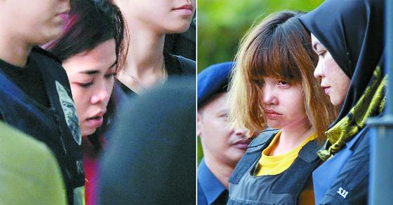 김정남 살해 혐의를 받는 시티 아이샤(왼쪽)와 도안 티 흐엉. [중앙포토]