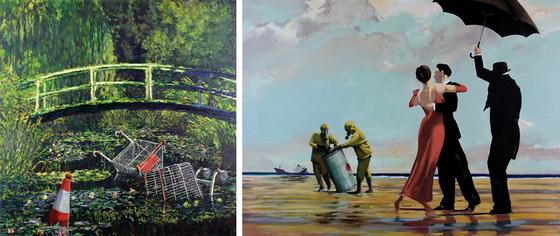 뱅크시, 모네를 보여줘(2005) 왼쪽, 베트리아노의 해변구조대(2005) 오른쪽. [출처 flickr]
