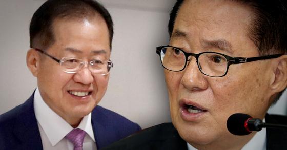 홍준표 전 자유한국당 대표(왼쪽), 박지원 민주평화당 의원. [연합뉴스, 뉴스1]