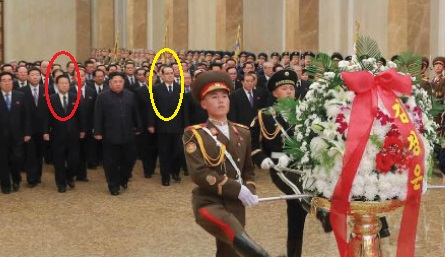 김정은 북한 국무위원장이 김정일 국방위원장 7주기를 맞아 금수산태양궁전을 참배했다고 북한 언론들이 17일 전했다. 김 위원장 오른쪽(사진에선 왼쪽)엔 지난 10일 미국이 인권 제재 대상에 올렸던 최용해(빨간 원) 당 부위원장이 섰다. 최용해와 함께 제재 대상에 올랐던 박광호 부위원장의 기존 자리에는 이수용(노란색 원) 부위원장을 섰다. [사진 노동신문]