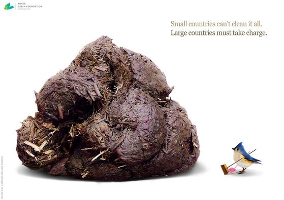 제15차 유엔기후변화협약 당사국총회(코펜하겐)에서 선보인 '코끼리가 싼 똥을 참새가 치울 수 없다'(Big countries must take charge) 캠페인. [사진 환경재단]