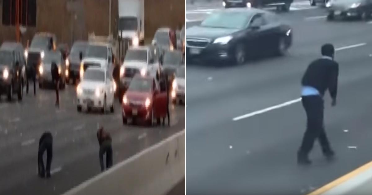 미국 뉴저지주의 한 고속도로에 떨어진 현금을 줍고 있는 운전자들 [유튜브 캡처]