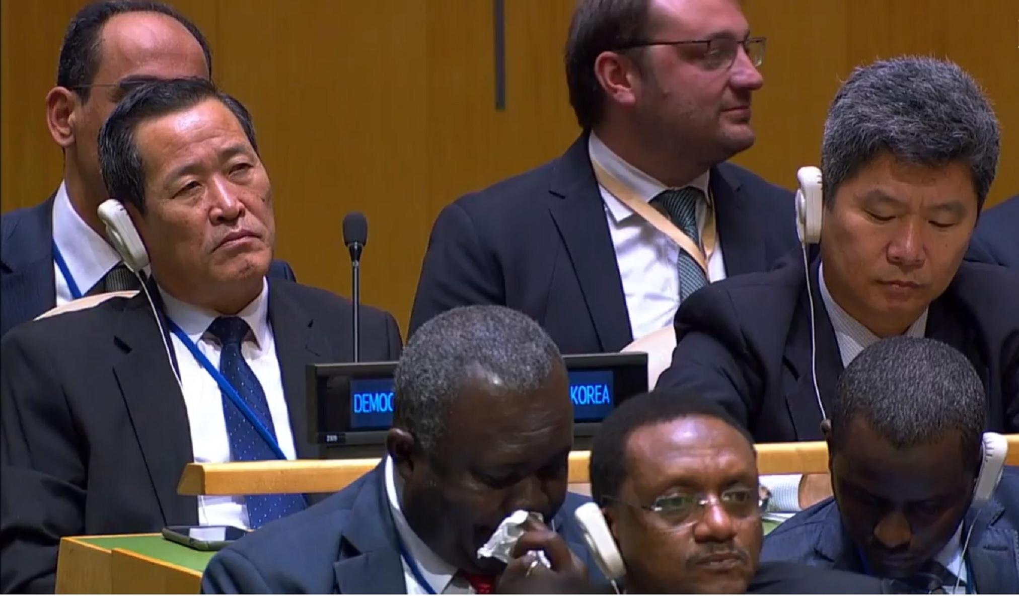 김성 신임 북한 유엔주재 대사가 지난 9월 25일 뉴욕 유엔총회에서 도널드 트럼프 대통령의 연설을 끝까지 경청하고 있다.[백악관 유튜브]
