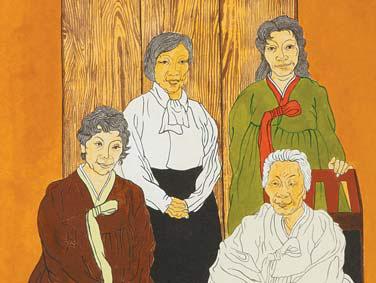 윤석남의 작품 속에 등장하는 자매들과 어머니. [사진 학고재갤러리]