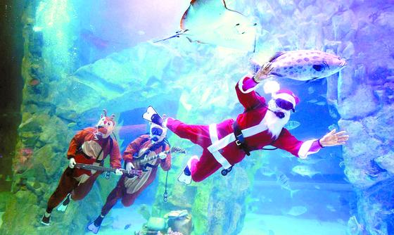 """수중 산타 '메리 크리스마스"""""""
