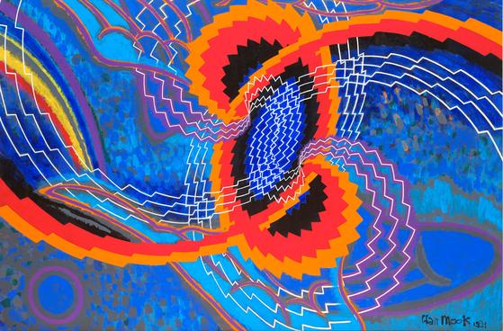 한묵, '상봉' (1991, 캔버스에 아크릴, 200*300cm,개인소장).[사진 서울시립미술관]