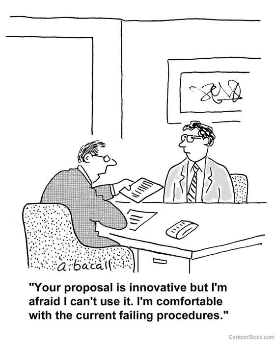 """이재웅 쏘카 대표가 20일 혁신성장본부장 자리에서 물러날 것을 발표하면서 함께 올린 삽화. 제안을 받아든 이가 """"당신의 제안은 혁신적이지만 난 실패하더라도 현재의 절차가 더 편하다""""고 말한다. [페이스북 캡처]"""