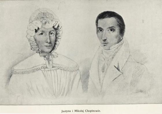쇼팽의 부모 (왼쪽부터)유스티나와 미코와이. 지금은 유실된 암브로지 미에로셰프스키(Ambrozy Mieroszewski)가 남긴 스케치의 사진을 바탕으로 얀 자모이스키(Jan Zamoyski)가 그린 그림. 폴란드 국립쇼팽연구소 소장. [사진 송동섭]