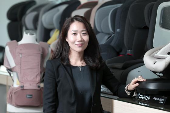 유아용 카시트 전문브랜드 다이치의 이지행 대표가 15일 서울 방배동 본사에서 중앙일보와 인터뷰하고 있다. 최승식 기자