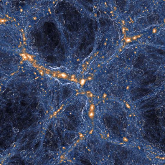 청색으로 표시된 가스가 주황색으로 표시된 은하들을 연결하고 있다. 이번 발견된 '화석 성운(fossil cloud)'은 별이 죽을 때 내놓는 금속성의 '무거운 원소'가 적고 수소와 은하계간 중위(IGM) 등 빅뱅 초기에 생성된 가스가 주를 이루는 것으로 나타났다. [사진 TNG COLLABORATION]