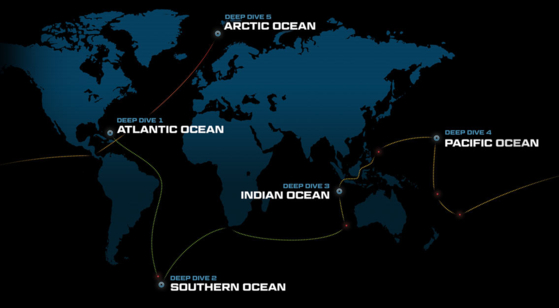 파이브 딥스 엑스퍼디션 프로젝트의 마지막 해저 탐사는 2019년 8월 19일 북극해의 몰로이 해연 탐사다. 그때까지 탐사팀은 오대양의 가장 깊은 곳만 골라 선별적으로 탐사를 진행한다. 그 중에는 세계에서 가장 깊은 마리아나 해구의 챌린저 해연도 포함된다. [그래픽 fivedeeps.com]