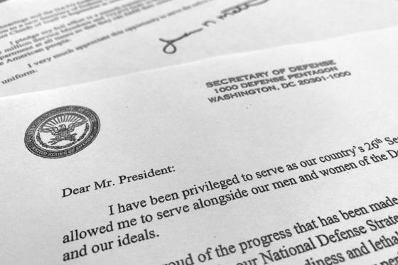 제임스 매티스 미국 국방부 장관의 사직서(Resignation Letter).  [AP=연합]