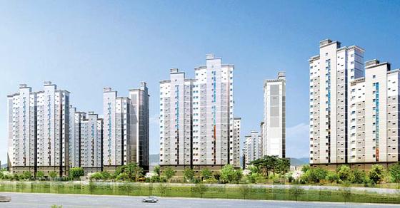 서울 강남권까지 10분대 출근이 가능한 대단지 아파트인 서울대입구역 힐링스테이트 투시도.