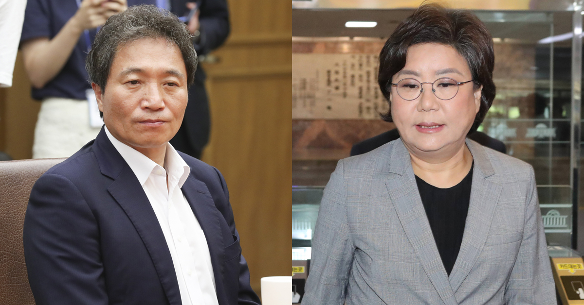 한국당 이학재 의원과 바른미래당 이혜원 의원. [중앙포토, 연합뉴스]