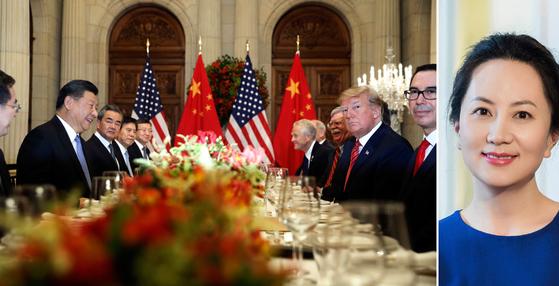 지난 1일(현지시간) G20 회의에서 회담 중인 트럼프 대통령과 시진핑 국가주석. 오른쪽은 미국 측 요청으로 캐나다가 체포했던 화웨이의 멍완저우(孟晩舟) 이사회 부의장. [AP=연합뉴스]