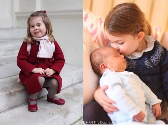 영국 왕실의 샬럿 공주가 유치원에 간 첫날(왼쪽)과 동생 루이 왕자를 품에 안고 이마에 키스하는 모습. [켄싱턴궁 사진=중앙포토]