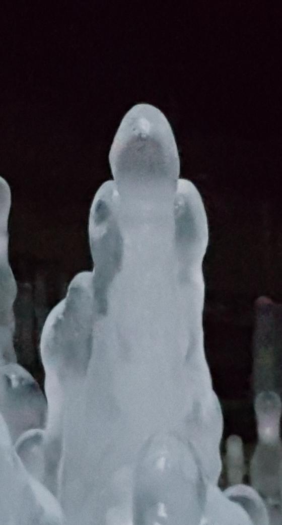 26일 오후 경기도 연천군 경원선 폐터널. 여인의 모습을 한 역고드름. [사진 이석우]