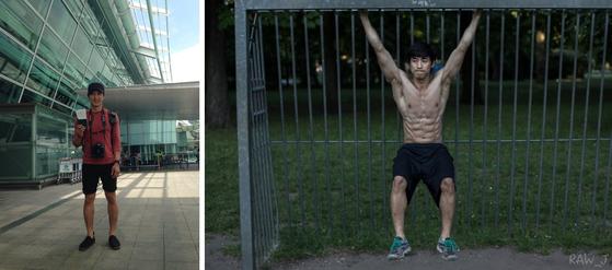 다니던 직장을 그만두고 독일로 떠나(왼쪽) 혼자 외롭게 운동하던(오른쪽) 시절의 안준영 씨. [사진 이상원]