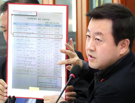자유한국당 김용남 전 의원이 23일 '청와대 특별감찰반 첩보 이첩 목록'에 대해 설명하고 있다.[연합뉴스]