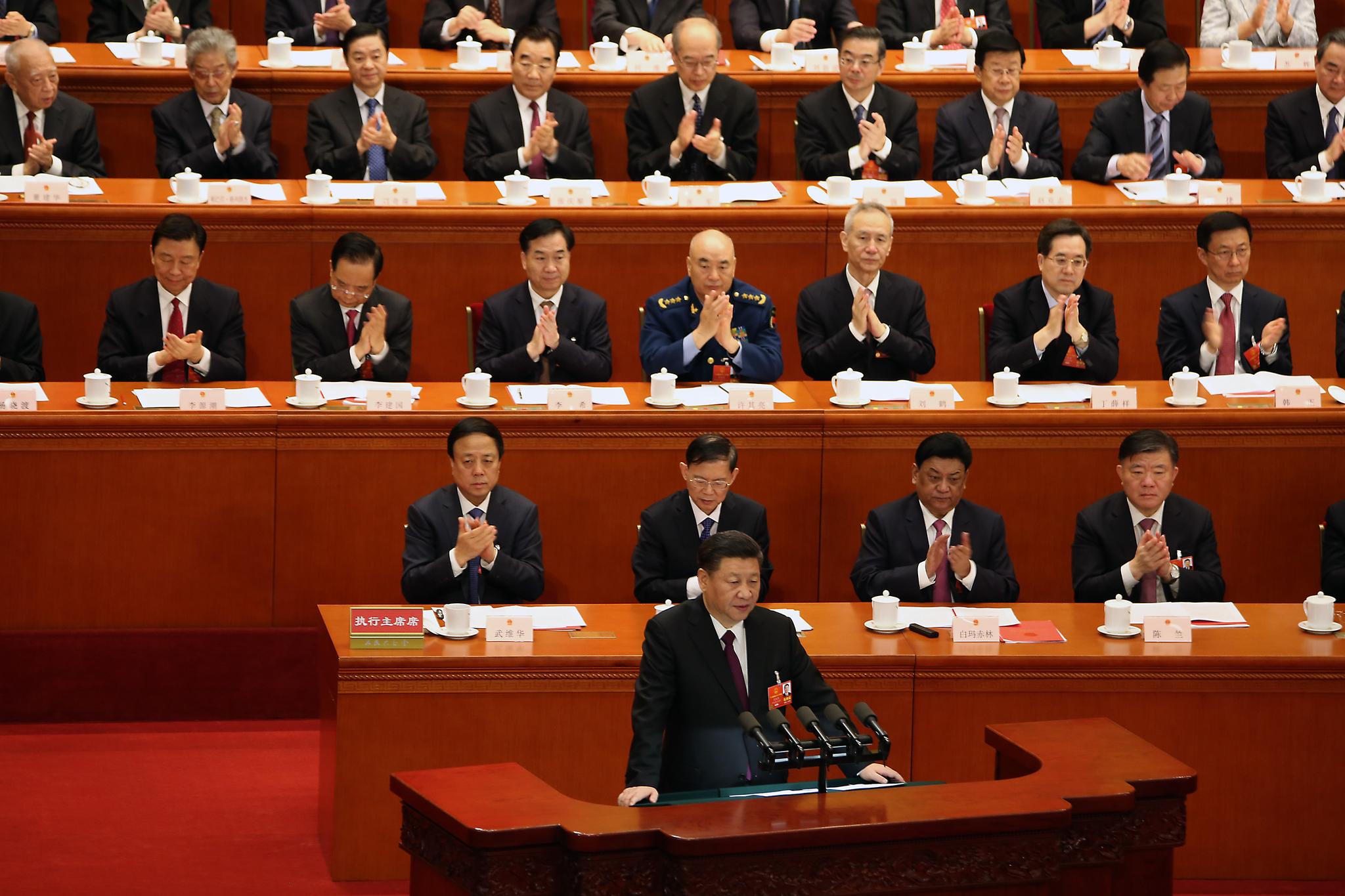 시진핑 중국 국가주석이 20일 베이징 인민대회당에서 열린 전국인민대표대회(전인대) 폐막식에서 연설하고 있다.[UPI=연합뉴스]