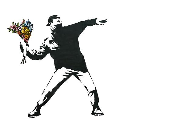 뱅크시의 '꽃을 던지는 사람' [사진 뱅크시 인스타그램]