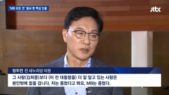 """1월 18일 정두언 전 의원이 한 언론 인터뷰에서 """"MB는 종쳤다""""고 말하는 모습. [JTBC 캡처]"""