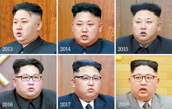 """뉴욕타임스(NYT)는 2013년부터 올해까지 김정은의 달라진 신년사 스타일을 올초 보도했다. NYT는 '김정은의 스타일 연출은 철저히 계산된 것""""이라며 '김일성의 통통한 풍채와 헤어스타일까지 흉내 내는 것으로 평가된다""""고 분석했다. 4년간 인민복을 입었던 김정은은 지난해에 이어 올해도 양복 차림으로 신년사를 낭독했다. 올해는 처음으로 밝은 회색 옷을 입었다. 외신들은 김정은의 몸무게가 5년 새 40㎏ 늘어났다고 보도했다. [중앙포토]"""