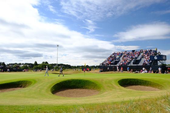 2018년 7월 22일 영국 스코틀랜드 앵거스 카누스티 골프 클럽에서 열린 오픈챔피언십 최종 라운드에서 6번째 그린 모습. <저작권자(c) 연합뉴스, 무단 전재-재배포 금지>