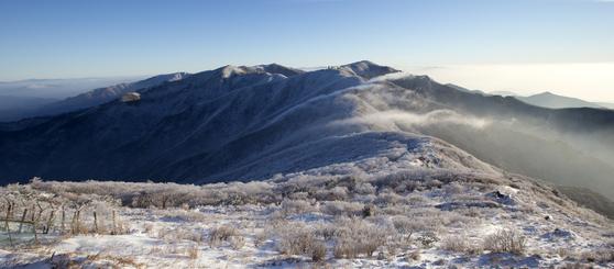 소백산은 겨울 산행 코스로도 유명하다. 제2연화봉 대피소에서 바라본 천문대와 비로봉. 임현동 기자