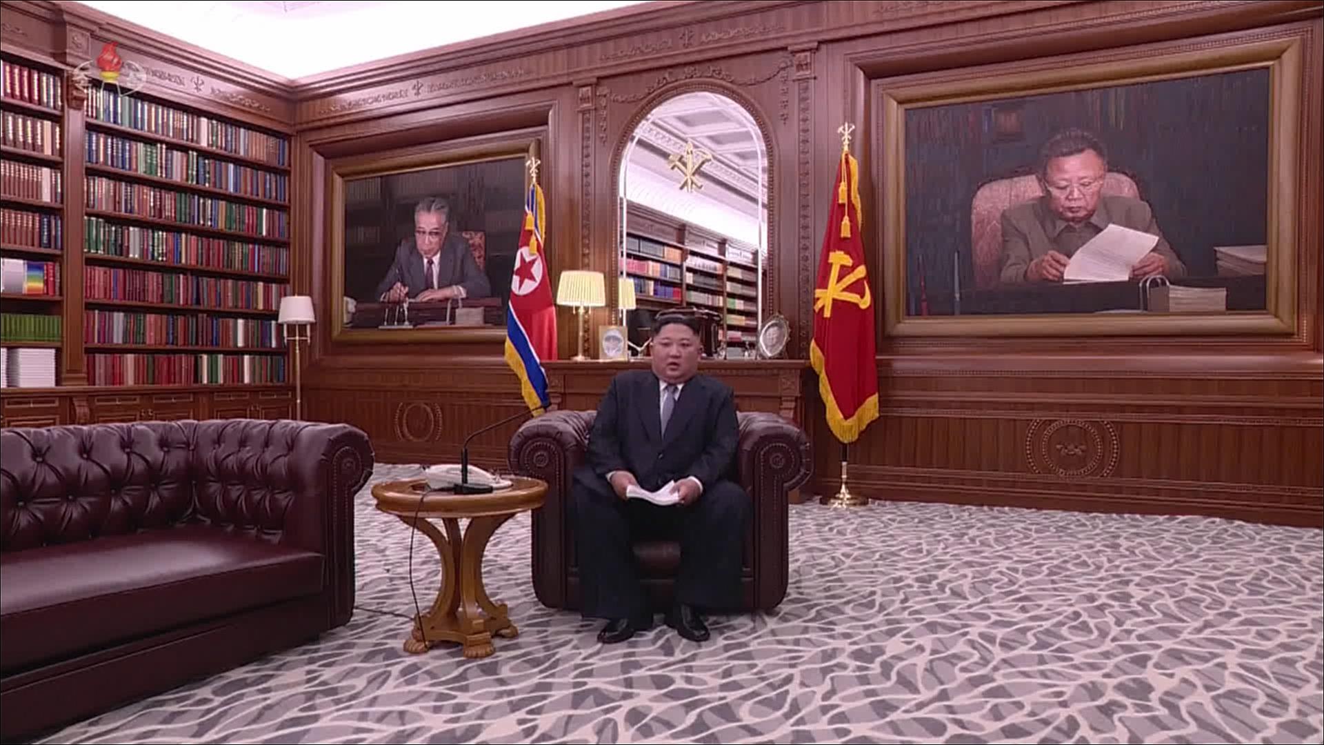 김정은 북한 국무위원장이 1일 오전 9시에 노동당 중앙위원회 청사에서 육성으로 신년사를 발표하고 있다. [연합뉴스]