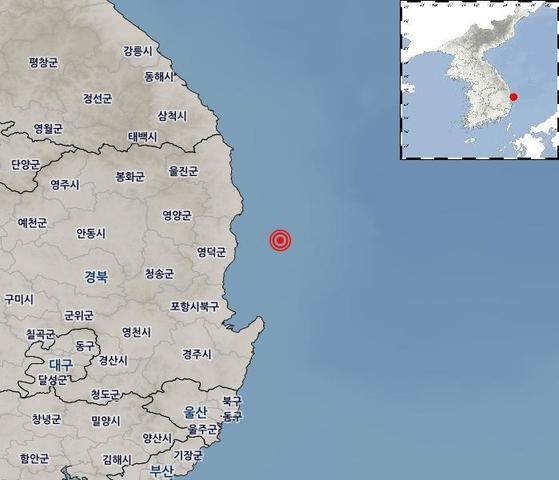 경북 영덕 앞바다 지진 발생지점 [자료 기상청]