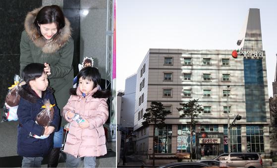 배우 이영애가 폐원 위기를 맞은 서울 충무로 제일병원 인수에 참여한다. 이씨는 쌍둥이 남매를 제일병원에서 출산했다. 왼쪽 사진은 지난 2014년 아이들을 데리고 공연을 보러나온 이영애. 오른쪽은 제일병원 전경 [중앙포토, 뉴스1]