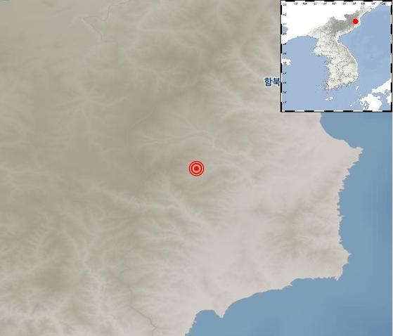 북한지진 발생지점 [자료 기상청]