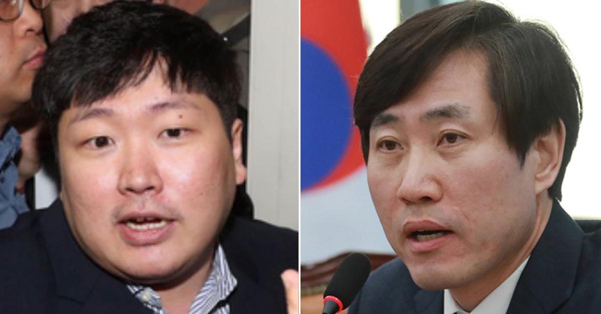 신재민 전 기획재정부 사무관(왼쪽)과 하태경 바른미래당 의원(오른쪽). 강정현 기자 [연합뉴스]