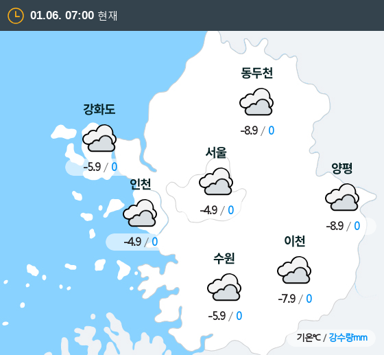 2019년 01월 06일 7시 수도권 날씨
