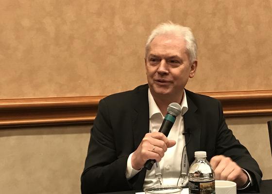 2019 CES에서 기자간담회에 참석한 알버트 비어만 현대차그룹 연구개발본부장. 라스베이거스 = 문희철 기자.