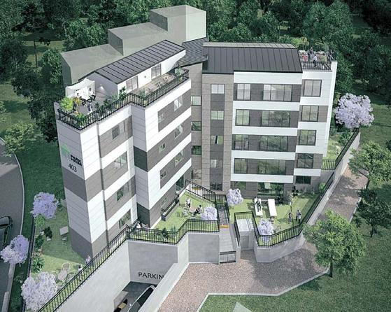 판교파크하임4차는 아파트의 편리함, 단독주택의 쾌적함을 갖춘 테라스 하우스로 실속 있는 전원생활이 가능하다. [사진 올림종합건설]
