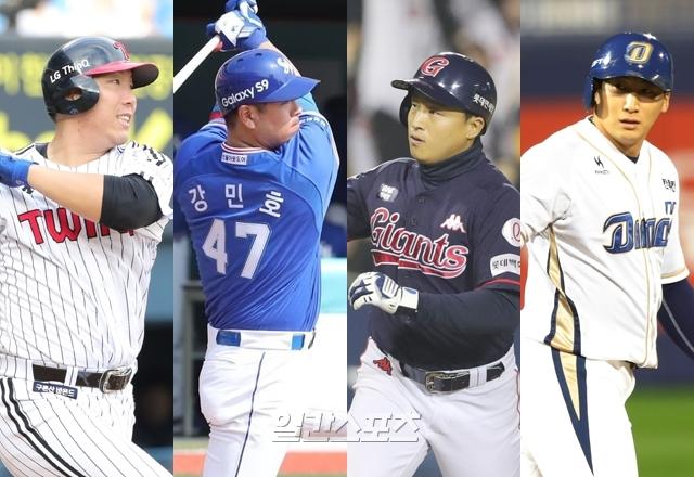 2019시즌 각 구단의 주장을 맡은 LG 김현수(왼쪽부터), 삼성 강민호, 롯데 손아섭, NC 나성범