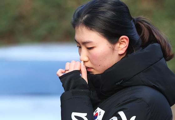 지난달 조재범 전 코치 항소심 2차 공판에 출석해 폭행 피해 사실을 진술한 심석희. [연합뉴스]