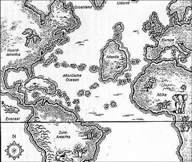 17C 출판된 아틀란티스 지도.
