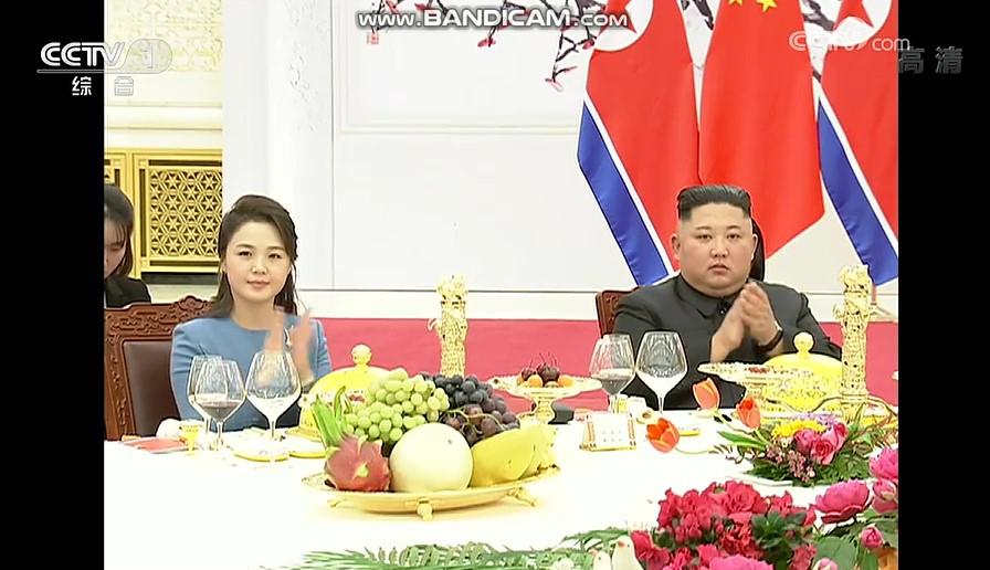 중국 CC-TV가 보도한 환영만찬장의 김정은 부부 모습 [CC-TV 캡처]