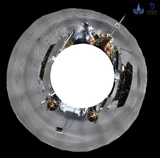 인류 최초로 지난 3일 달 뒤편에 착륙한 중국의 '창어 4호'가 달 뒷면의 360도 파노라마 사진을 찍었다. [신화=연합뉴스]